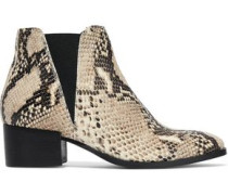 Savea Snake-effect Leather Ankle Boots Animal Print