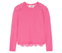 Lace-paneled Wool And Cashmere-blend Sweater Pink