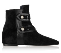Roddy Leather-trimmed Suede Ankle Boots Schwarz