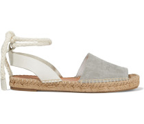 Woman Estelle Embossed Leather And Suede Espadrille Sandals Light Gray