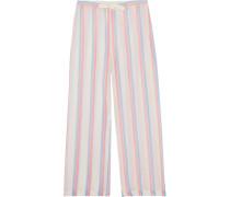 Striped Cotton Wide-leg Pants Mehrfarbig