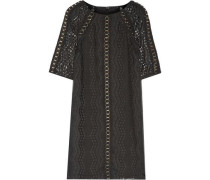 Eyelet-embellished crochet knit-paneled embroidered georgette mini dress