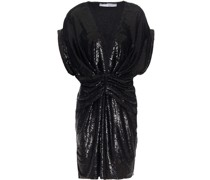 Lilou Ruched Sequined Stretch-knit Mini Dress