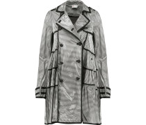 Coated Striped Modal-blend Trench Coat Weiß