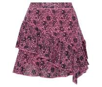 Ruffled Floral-print Cotton-gauze Mini Skirt