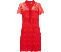 Rozen Embroidered Lace Mini Dress Rot