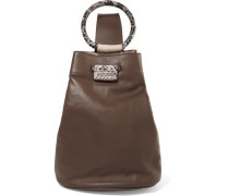 Snake-effect and smooth leather shoulder bag