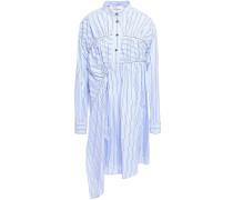 Woman Asymmetric Gathered Striped Cotton-poplin Mini Shirt Dress Light Blue