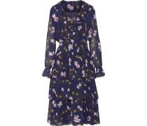 Ruffled Tiered Floral-print Chiffon Midi Dress Mehrfarbig