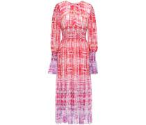 Woman Shirred Tie-dyed Silk-chiffon Midi Dress Fuchsia