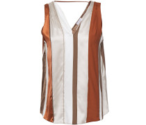 Bead-embellished Striped Stretch-silk Top