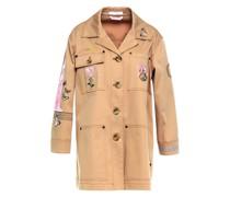Jacke aus Gabardine aus Einer Baumwollmischung mit Stickereien und Gürtel