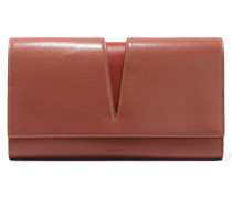 Cutout Glossed-leather Clutch Puder