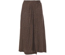 Wrap-effect Printed Silk-blend Twill Midi Skirt