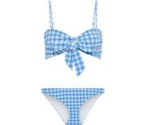 Jewett Bandeau-bikini aus Stretch-seersucker mit Gingham-karo und Schleife