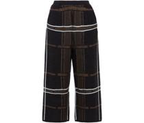 Cropped Hose mit Weitem Bein aus Jacquard-strick aus Einer Wollmischung