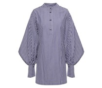 Geraffte Bluse aus Baumwollpopeline mit Streifen