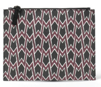 Printed Faux Leather Clutch Burgunder