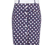 Printed cotton-blend twill mini skirt