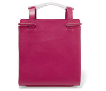 Gable Textured-leather Tote Magenta