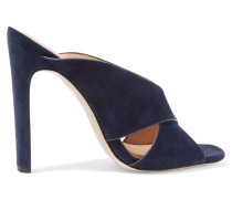Suede Mules Navy