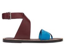 Mailin Suede And Leather Sandals Schokoladenbraun