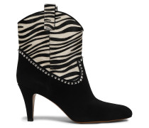 Georgia Studded Suede And Zebra-print Calf Hair Boots