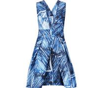 Elisa Pleated Printed Satin-twill Mini Dress Blau