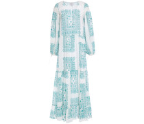 Nalii Gathered Printed Cotton-voile Maxi Dress
