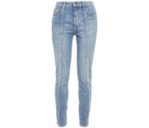 Woman The Seamed High Waist Ankle Skinny Stiletto Mid-rise Skinny Jeans Mid Denim