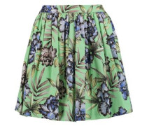 Tania pleated printed stretch-cotton mini skirt