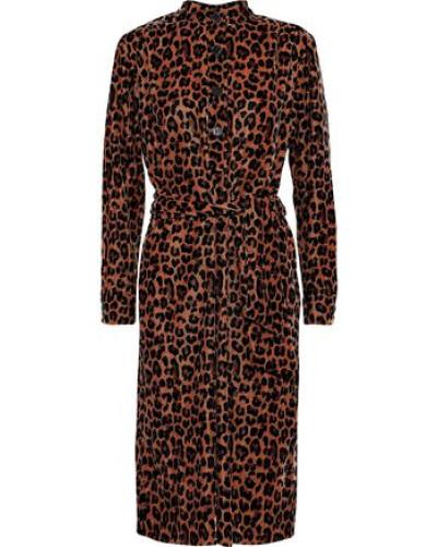Gart Leopard-print Velvet Shirt Dress Animal Print