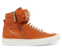 Leather High-top Sneakers Orange