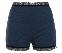 Lace And Velvet-trimmed Houndstooth Wool-blend High-rise Briefs