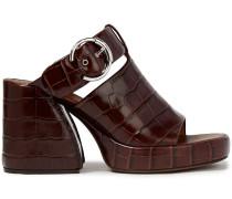 Wave Buckled Croc-effect Leather Platform Sandals