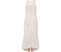 Pleated Embroidered Tulle Midi Dress Weiß