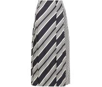 Carey Paneled Pleated Striped Silk-twill Midi Skirt