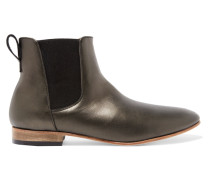 Troy Metallic Leather Ankle Boots Stahlgrau