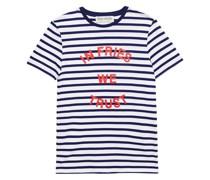 Gestreiftes T-shirt aus Baumwoll-jersey mit Print