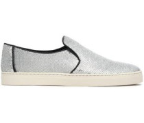 Sequinned leather slip-on sneakers
