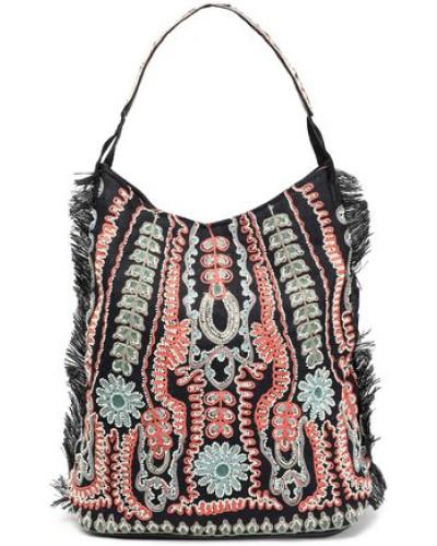 Embellished Woven Raffia Shoulder Bag Black Size --