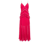Crochet-trimmed Ruffled Fil Coupé Georgette Maxi Dress
