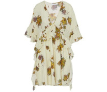 Button-detailed ruffled printed voile mini dress