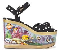 Knotted Polka-dot Cady Platform Wedge Sandals
