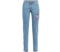 Cropped Embroidered Mid-rise Slim-leg Jeans