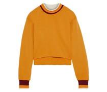 Cropped Striped Cotton-blend Fleece Sweatshirt