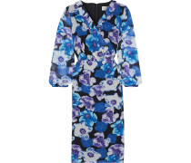 Pleated Ruffle-trimmed Floral-print Georgette Dress