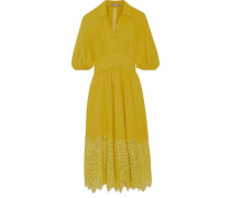 Corded lace-paneled crepe dress