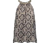 Francis bead-embellished printed silk-voile top