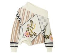Upside Down Pullover aus Baumwolle in Patchwork-optik mit Intarsienmuster und Stickereien
